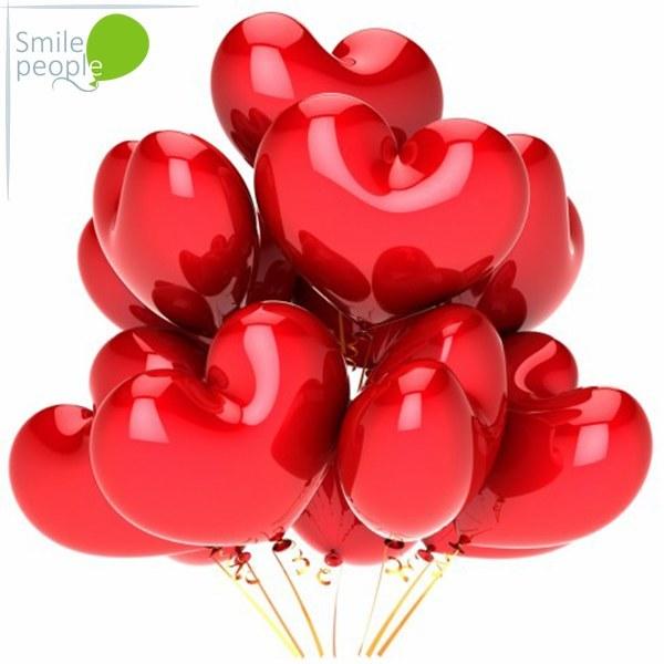 Красные шары сердечки 25 шт 25 см