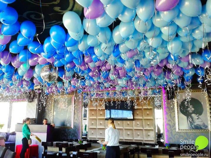 500 шариков с гелием под потолок