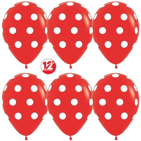 Белые точки красный пастель 25 шариков