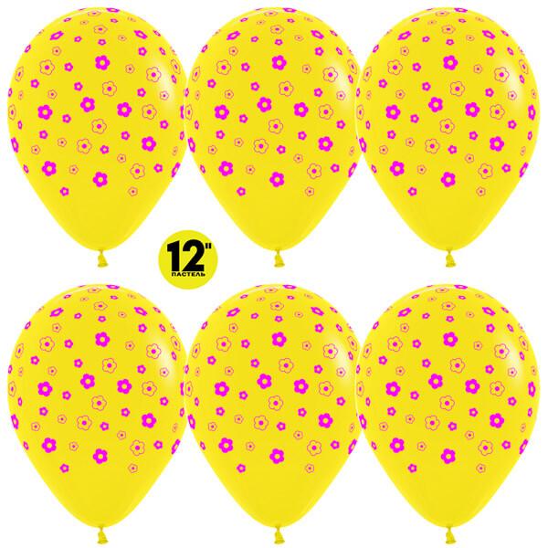 Цветы жёлтый пастель 25 шариков