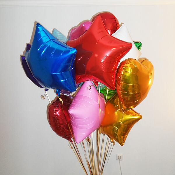 Фольгированные шары с гелием ассорти 15 шт