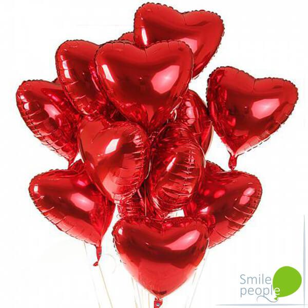 15 шариков сердечек 46 см
