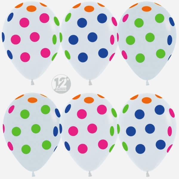 Горошек многоцветный белый пастель 25 шариков