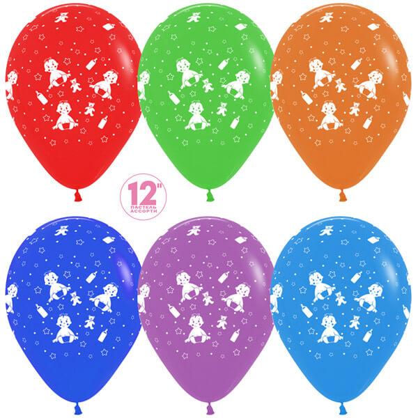 Малыш мальчик ассорти пастель 25 шариков