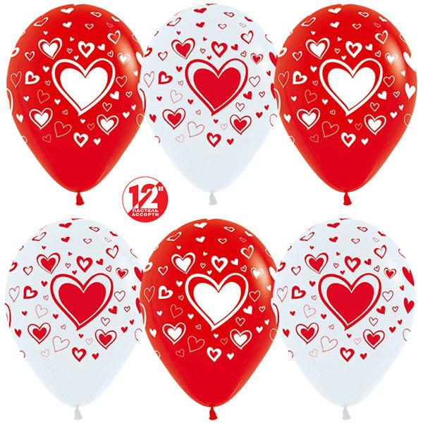 Множество сердец белый красный пастель 25 шариков