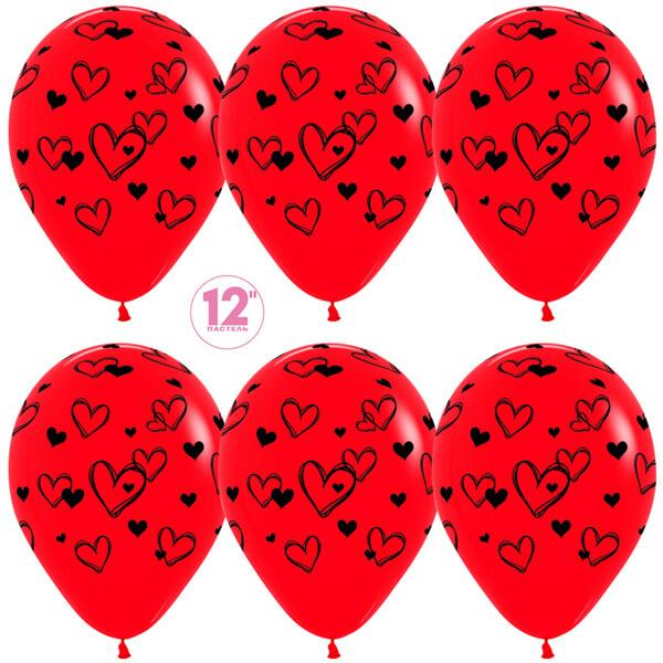 Наброски сердец красный пастель 25 шариков