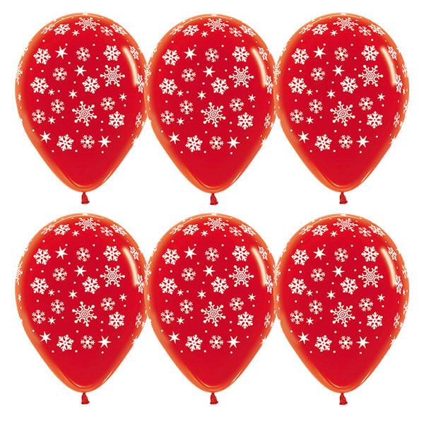 Снежинки красный кристалл 25 шариков