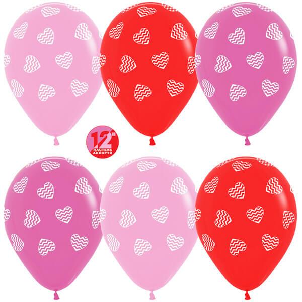 Полосатые сердца ассорти пастель 25 шариков