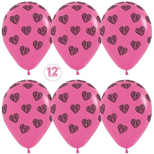 Полосатые сердца фуше пастель 25 шариков