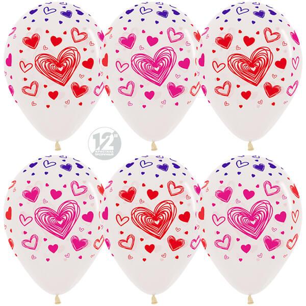Разноцветные сердца прозрачный кристалл 25 шариков