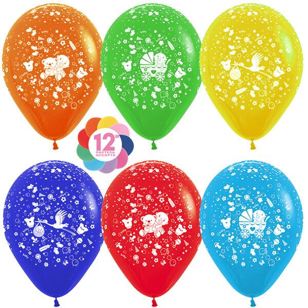 С новорожденным! ассорти пастель 25 шариков