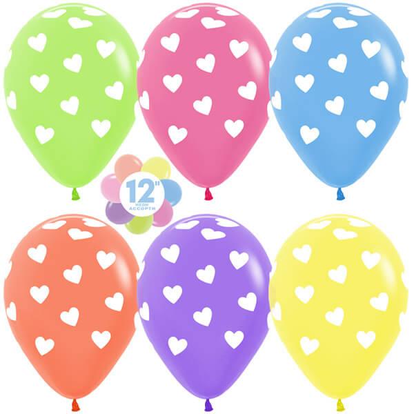 Сердца ассорти неон 25 шариков