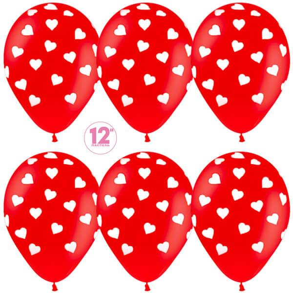 Сердца красный пастель 25 шариков