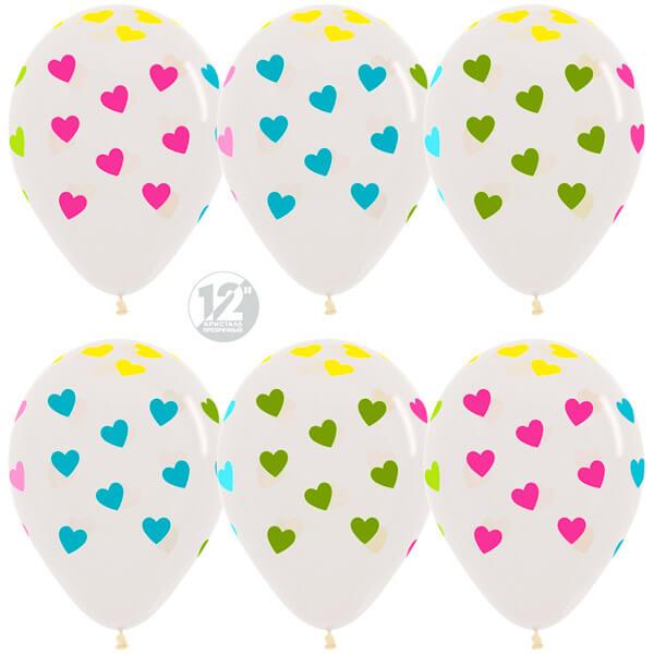 Сердца многоцветный флюор прозрачный кристалл 25 шариков