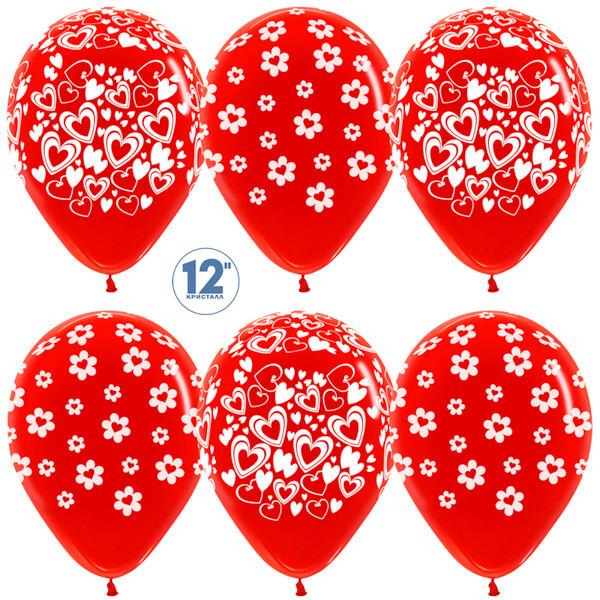 Сердце в цветке красный кристалл 25 шариков
