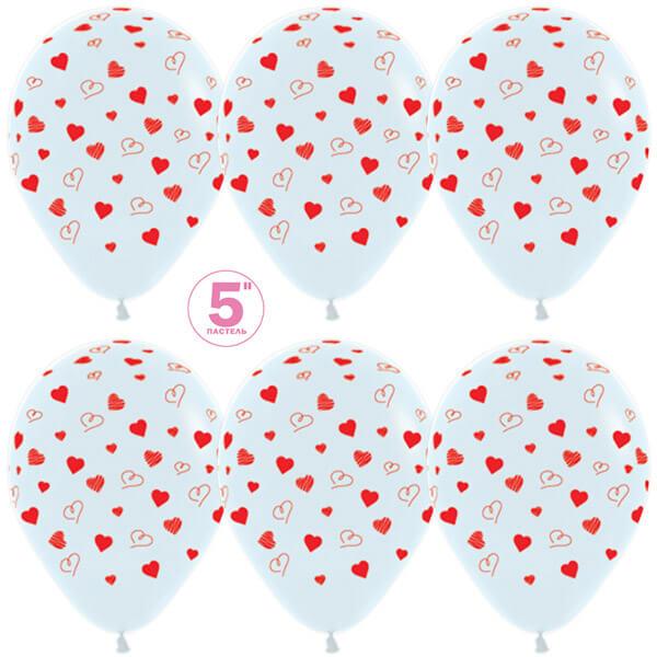 Сердечки белый пастель 25 шариков