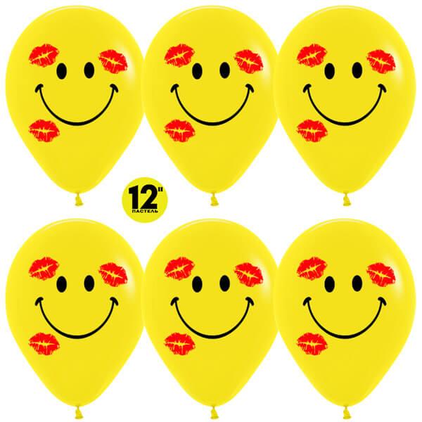 """Смайл в поцелуях 12"""" жёлтый пастель 25 шариков"""