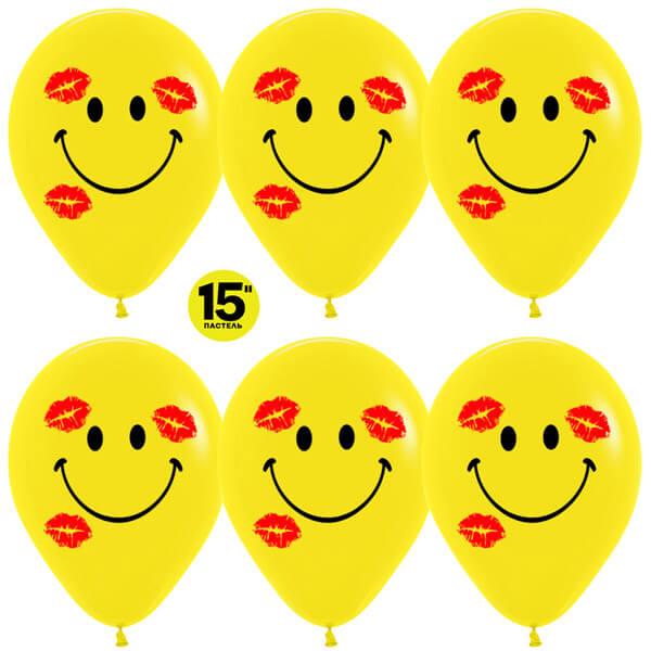 """Смайл в поцелуях 15"""" жёлтый пастель 25 шариков"""