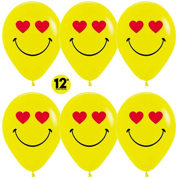 Смайл влюблённый жёлтый пастель 25 шариков