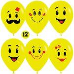 Смайлы эмоции жёлтый пастель 25 шариков