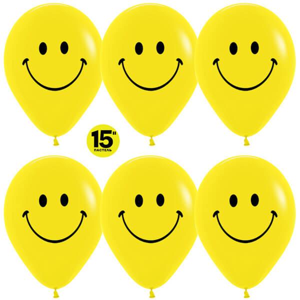 Смайлы классические 15 жёлтый пастель 25 шариков