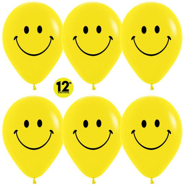 Смайлы классические жёлтый пастель 25 шариков