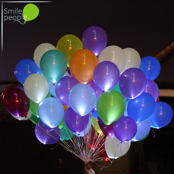 Светящиеся шары с гелием 75 шт