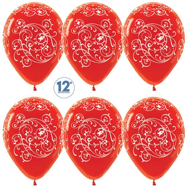 Узоры красный кристалл 25 шариков