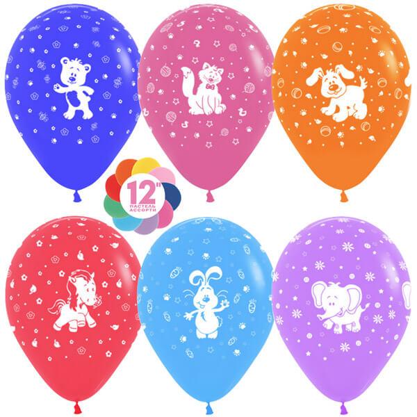 Весёлые животные ассорти пастель 25 шариков