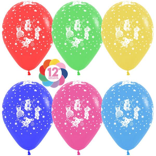Забавные мишки ассорти пастель 25 шариков