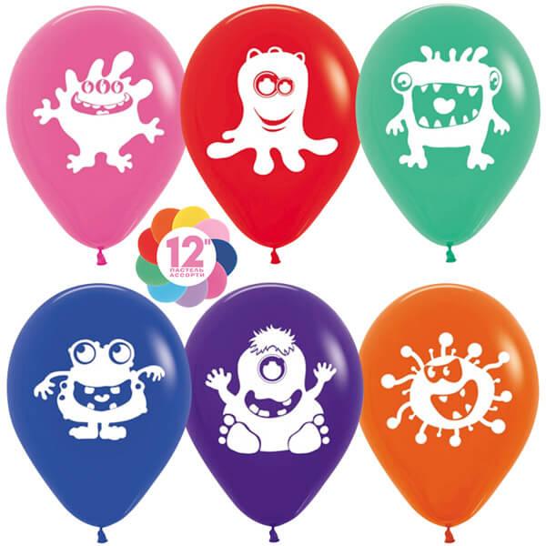 Забавные монстры ассорти пастель 25 шариков