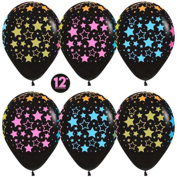 Звёзды многоцветный флюор чёрный пастель 25 шариков