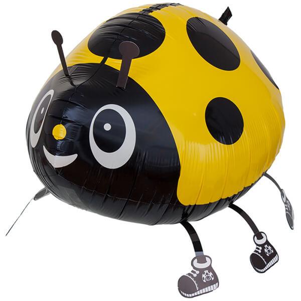 Фольгированный шар божья коровка, жёлтая 28″/71 см с гелием