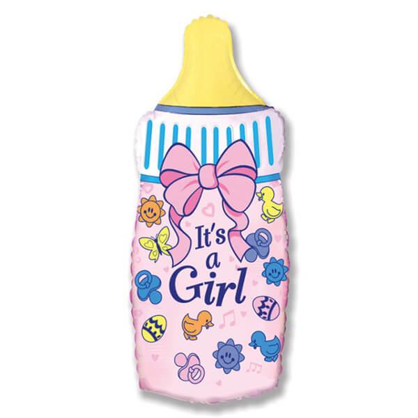Фольгированный шар бутылочка для девочки, розовая 31″/79 см с гелием