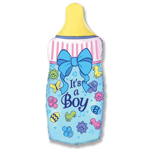 Фольгированный шар бутылочка для мальчика, голубая 31″/79 см с гелием