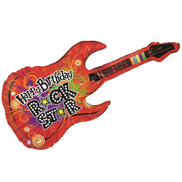 Фольгированный шар гитара с днём рождения 42″/107 см с гелием
