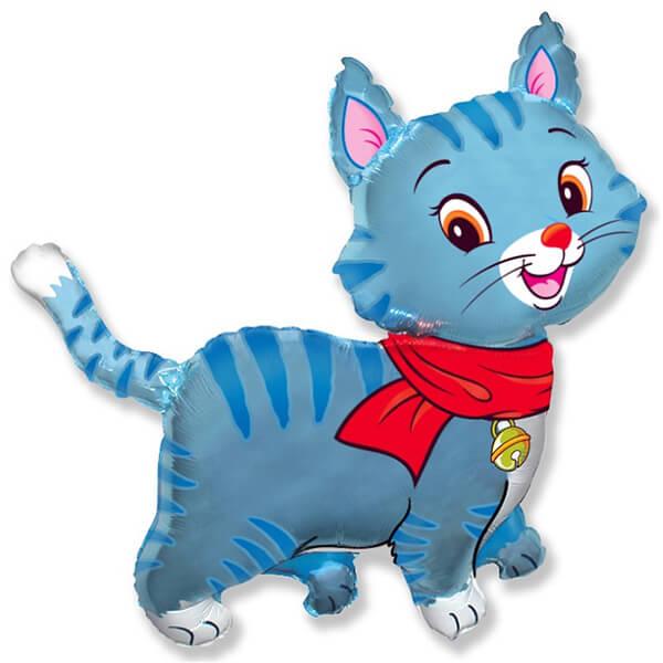 Фольгированный шар любимый котёнок, синий 32″/81 см с гелием