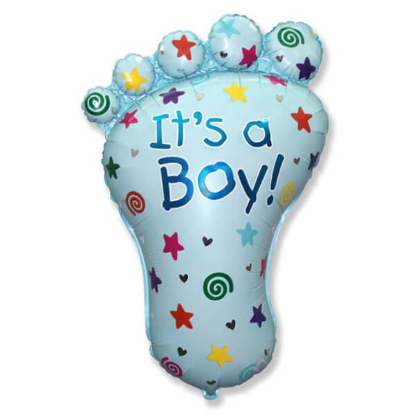 Фольгированный шар ножка мальчика, голубая 38″/97 см с гелием