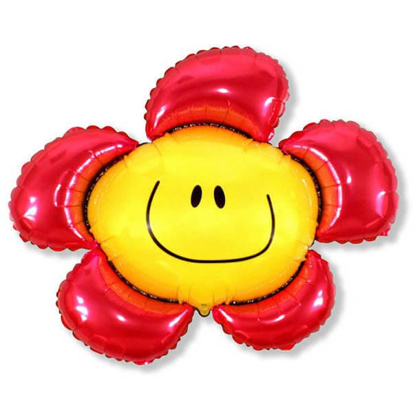 Фольгированный шар цветок красный 41″/104 см с гелием