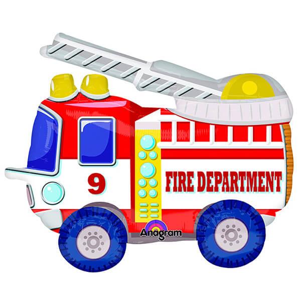 Ходячий шар пожарная машина красная 52″/132 см с гелием