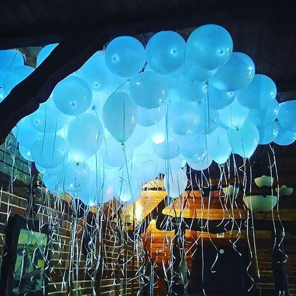 Светящиеся шары белые с гелием 100 шт