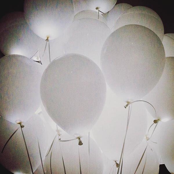 Светящиеся шары белые с гелием 25 шт