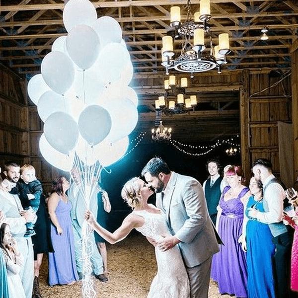 Светящиеся шары белые с гелием связка 25 шт