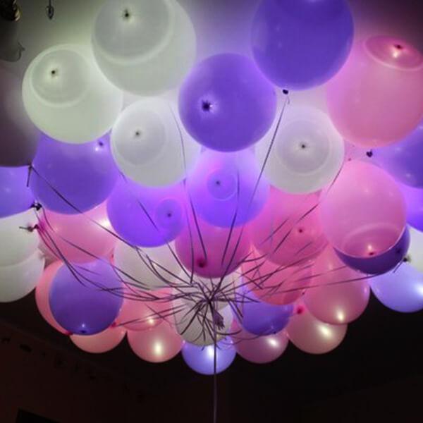 Светящиеся шары лиловые с гелием 25 шт