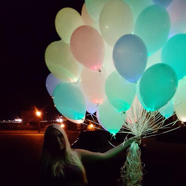 Светящиеся шары нежность с гелием 25 шт